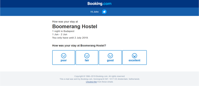 booking.com emoji customer feedback form